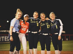 The Softball Player Executive Committee. From left to right: Sam Fischer, Jazmyn Jackson, Gwen Svekis, Haylie Wagner and Victoria Hayward.