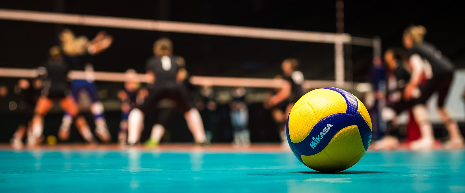 Mikasa ball on the court.