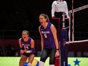 Lauren Gibbemeyer celebrates a point.