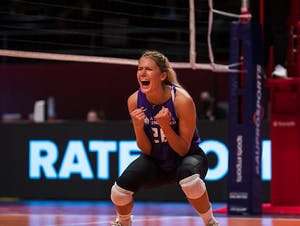 Brie King celebrates a point.