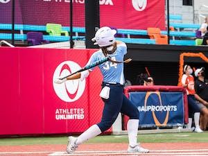 Erika Piancastelli with Easton bat.