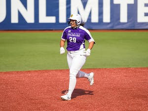 Tori Vidales running the bases.